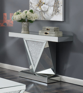 Rectangular Sofa Table with Triangle Detailing Silver and Clear Mirror - Hover