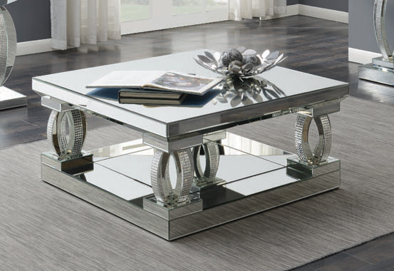 Avonlea Square Coffee Table with Lower Shelf Clear Mirror - Hover