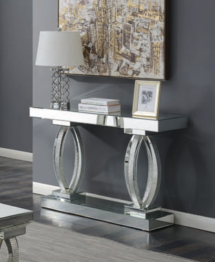 Rectangular Sofa Table with Shelf Clear Mirror - Hover