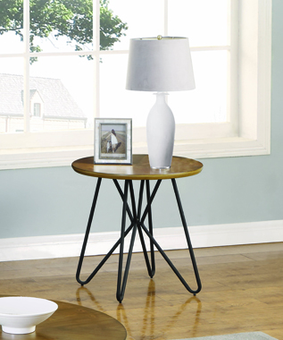 Churchill Round End Table Dark Brown and Black - Hover