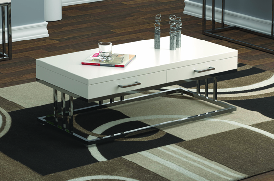 2-drawer Rectangular Coffee Table Glossy White and Chrome - Hover