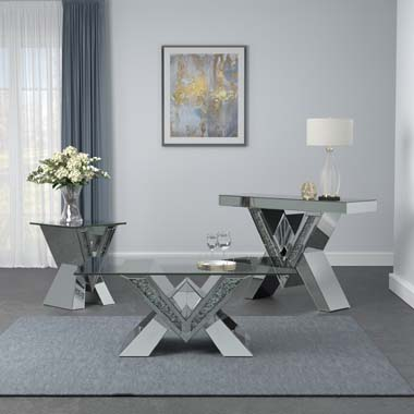 Caldwell V-shaped Coffee Table with Glass Top Silver - Hover