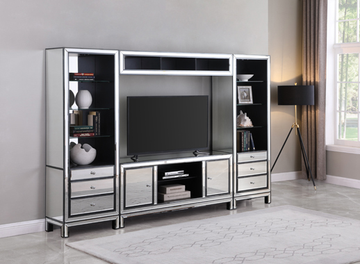 3-drawer Media Tower Black Titanium and Silver - Hover