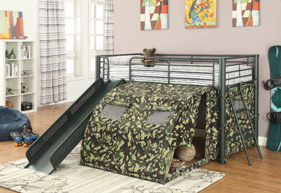 Camouflage Tent Lofted Bed with Lower Playspace Army Green - Hover