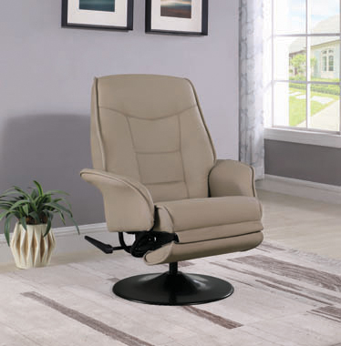 Swivel Recliner with Flared Arm Beige - Hover