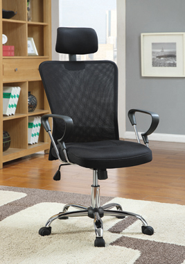 Mesh Back Office Chair Black and Chrome - Hover