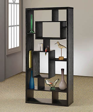 10-shelf Bookcase Black Oak - Hover