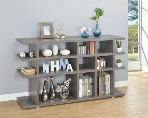 3-tier Bookcase Weathered Grey - Hover