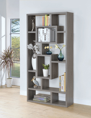 10-shelf Bookcase Weathered Grey - Hover