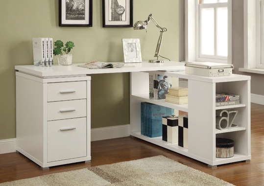 Yvette L-shape Office Desk White - Hover