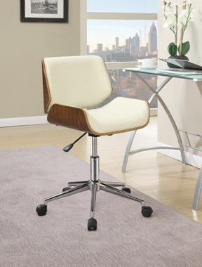 Adjustable Height Office Chair Ecru and Chrome - Hover