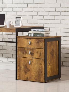 Estrella 3-drawer File Cabinet Antique Nutmeg and Gunmetal - Hover