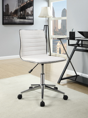 Adjustable Height Office Chair White and Chrome - Hover
