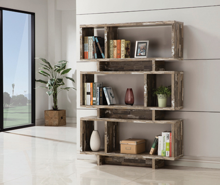 3-tier Geometric Bookcase Salvaged Cabin - Hover
