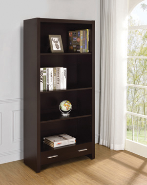 Skylar 5-shelf Bookcase with Storage Drawer Cappuccino - Hover