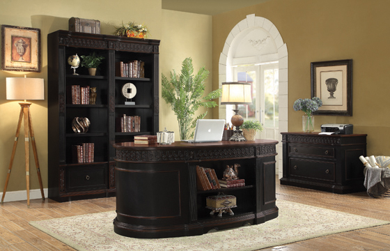 Rowan 7-drawer Executive Desk Black and Chestnut - Hover
