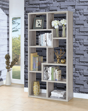 10-shelf Geometric Bookcase Grey Driftwood - Hover