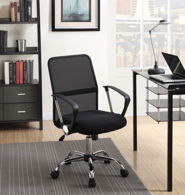 Office Chair with Mesh Backrest Black and Chrome - Hover
