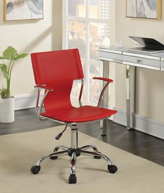 Adjustable Height Office Chair Red and Chrome - Hover