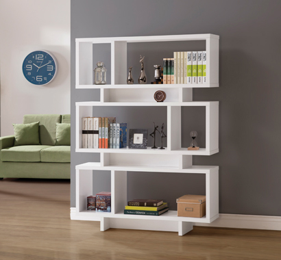 3-tier Geometric Bookcase White - Hover