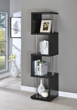 4-shelf Bookcase Black and Chrome - Hover