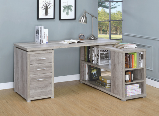 Yvette L-shape Office Desk Grey Driftwood - Hover
