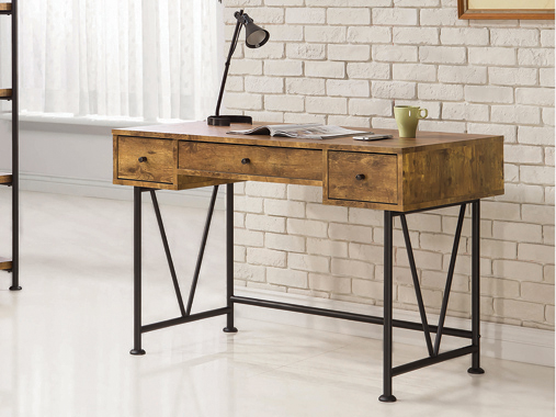 Analiese 3-drawer Writing Desk Antique Nutmeg and Black - Hover