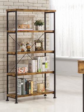 Analiese 4-shelf Bookcase Antique Nutmeg - Hover