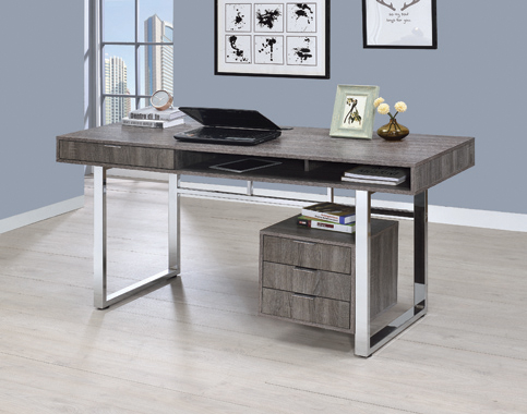 Whitman 4-drawer Writing Desk Weathered Grey - Hover
