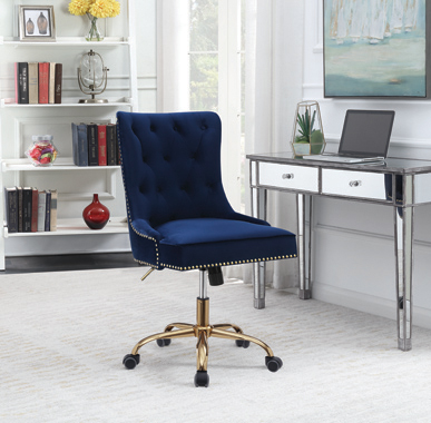 Upholstered Office Chair with Nailhead Blue and Brass - Hover