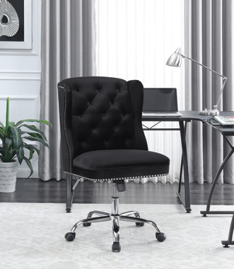Upholstered Tufted Office Chair Black and Chrome - Hover