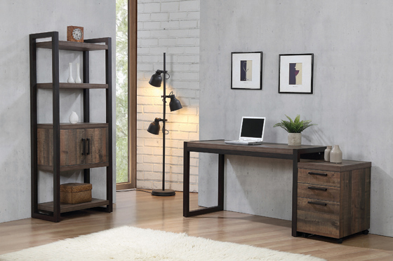 Luke Writing Desk Weathered Oak and Rustic Coffee - Hover