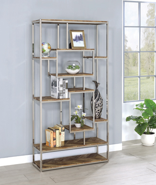 Felsberg 10-shelf Bookcase Rustic Tobacco Herringbone and Nickel - Hover