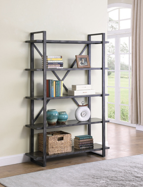 Henderson 5-shelf Bookcase Weathered Elm - Hover
