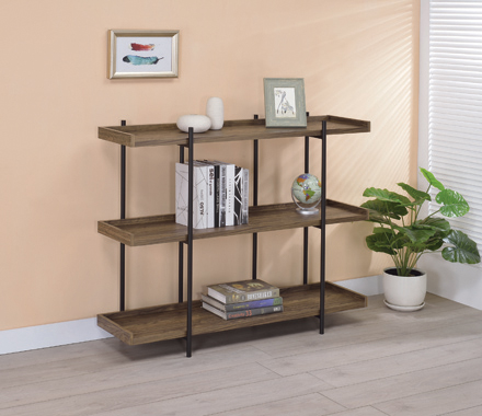 Lawtey 3-shelf Bookcase Aged Walnut - Hover