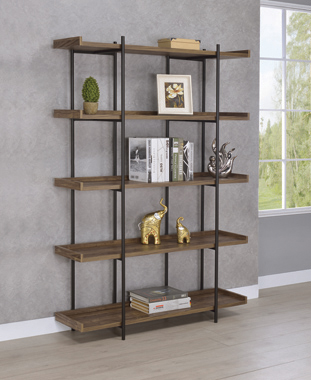Lawtey 5-shelf Bookcase Aged Walnut - Hover