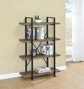 Tolar 4-tier Open Shelving Bookcase Rustic Oak and Black - Hover