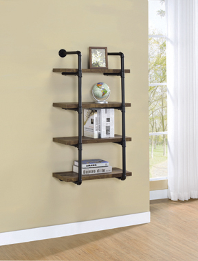 24-inch Wall Shelf Black and Rustic Oak - Hover