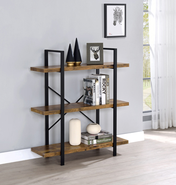 3-Shelf Bookcase Antique Nutmeg and Black - Hover
