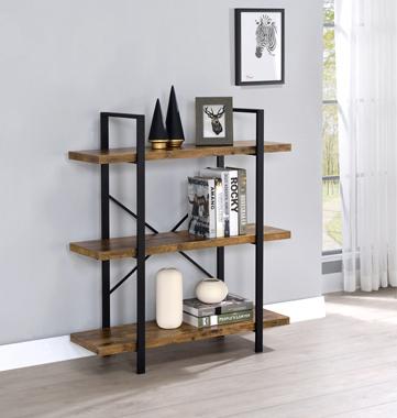 3-Shelf Bookcase Antique Nutmeg and Black - Hover
