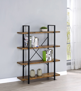 4-Shelf Bookcase Antique Nutmeg and Black - Hover