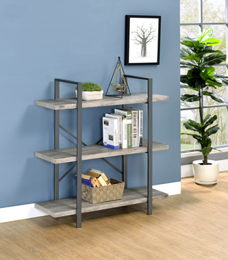 3-Shelf Bookcase Grey Driftwood and Gunmetal - Hover