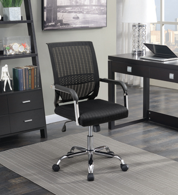 Adjustable Height Office Chair Black and Chrome - Hover