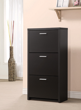 3-drawer Shoe Cabinet Black - Hover