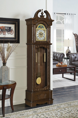 Traditional Brown Grandfather Clock - Hover