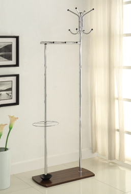 Coat Rack with Umbrella Stand Chrome and Walnut - Hover