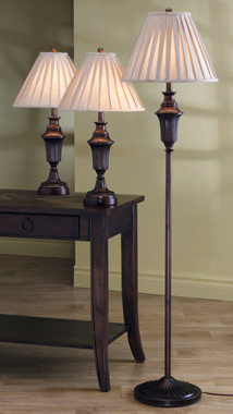 3-piece Sculpted Lamp Set Dark Brown