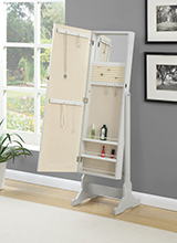 Transitional Dove Grey Cheval Mirror Armoire - Hover