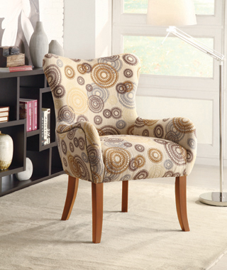 Upholstered Accent Chair with Tapered Legs Multi-color - Hover