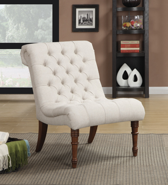 Armless Tufted Back Accent Chair Oatmeal - Hover